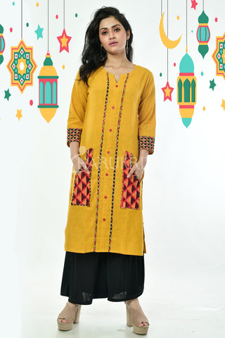 Yellow Cotton Kurti With Embroidered Front Panel and Front Pockets