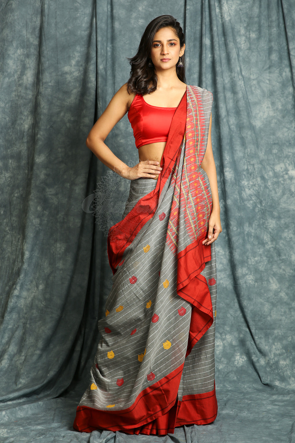 Grey Handloom Saree With Allover Stripes & Multicolor Thread Weaving - charukriti.co.in