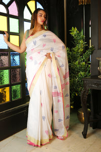 White Saree With Heart Weaving