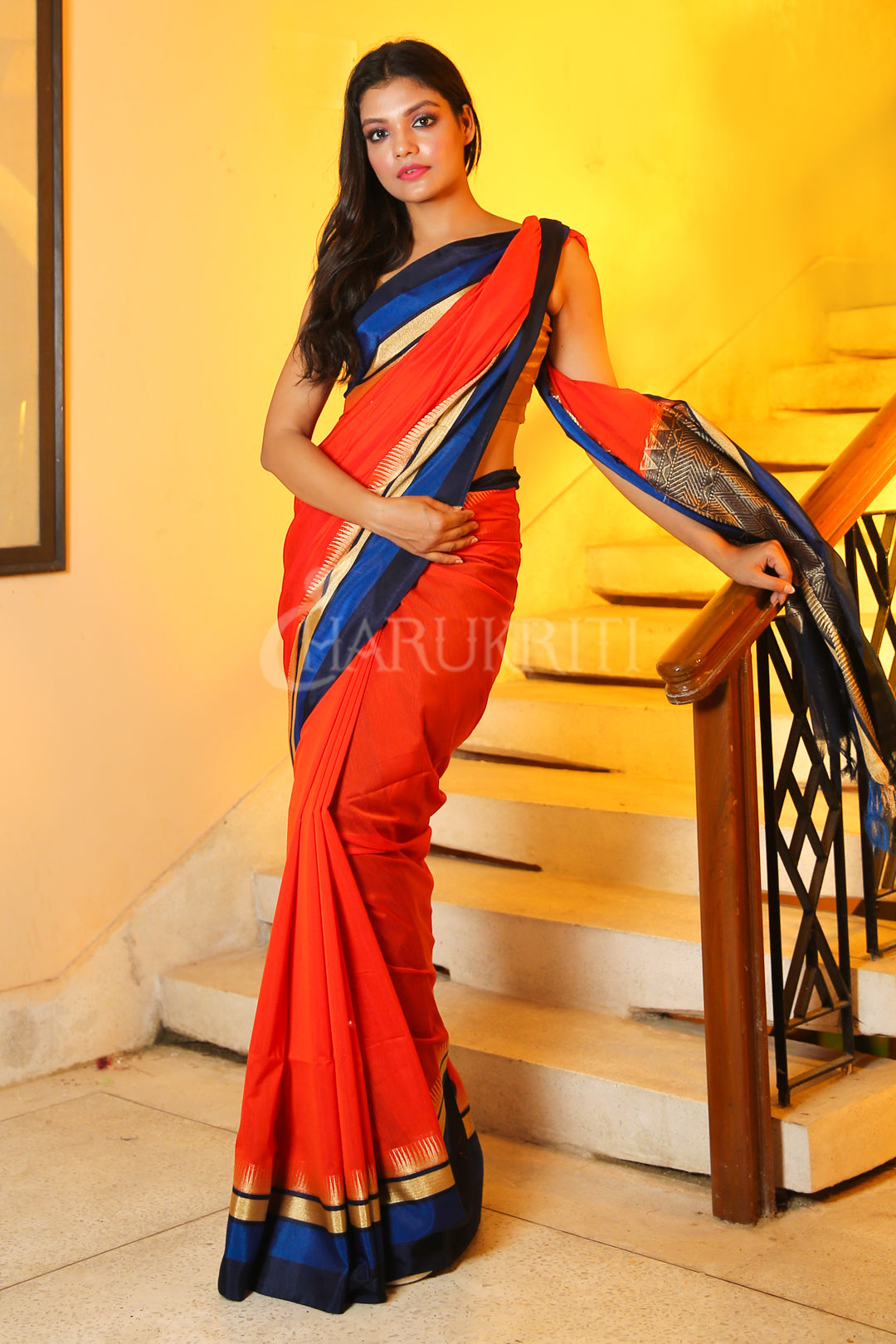 Orange Chanderi Silk Saree With Blue Border And Zari Pallu - Charukriti.co.in