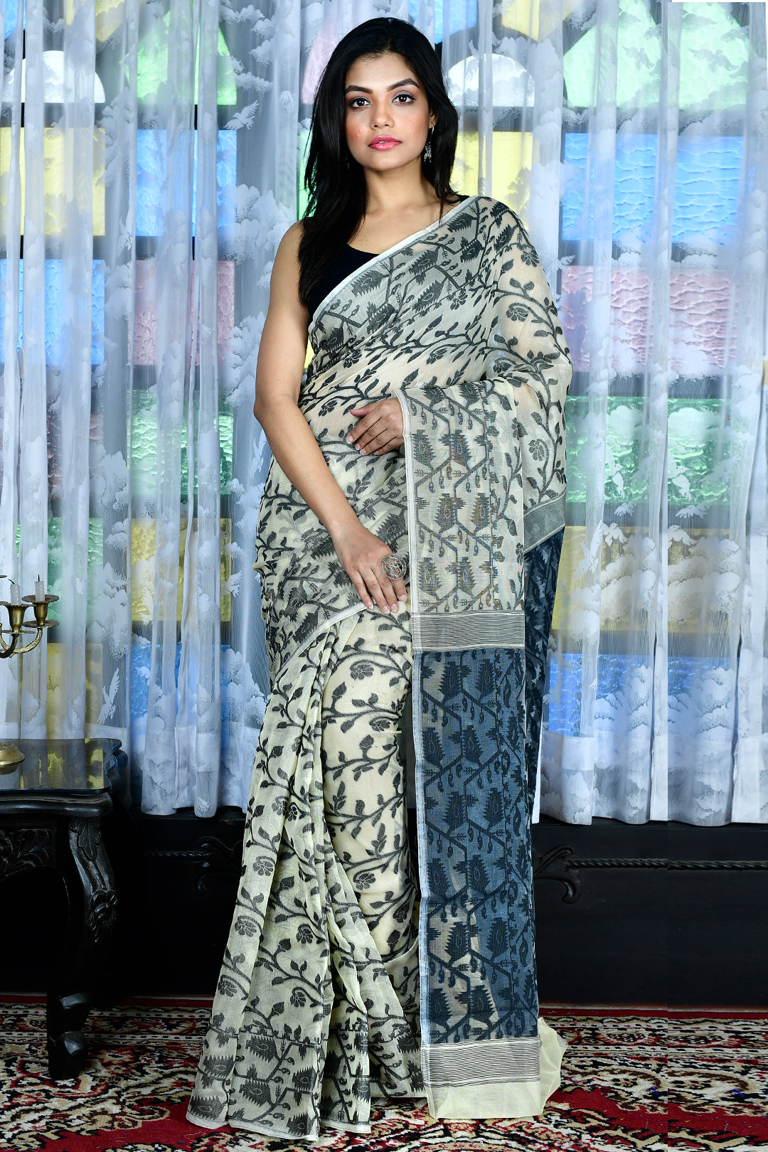 Off White Jamdani Saree With All Over Black Thread Weave - Charukriti.co.in