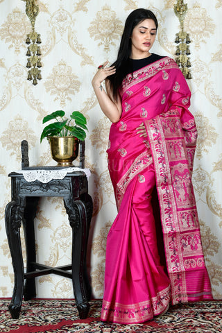 HANDWOVEN MAJENTA BALUCHARI SILK WITH WOVEN PALLU