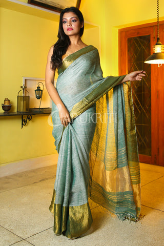 PERSIAN GREEN PURE LINEN WITH GOLDEN BORDER AND PALLU
