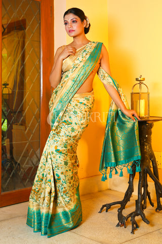 OFF-WHITE FLORAL PRINTED DUPION SILK SAREE WITH SKY BLUE ZARI BORDER AND PALLU