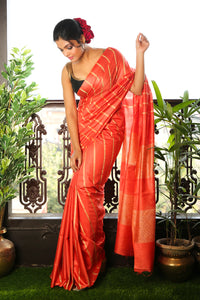 ORANGE BLENDED SILK SAREE WITH GHEECHA STRIPES AND PALLU
