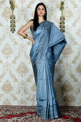 AIRFORCE BLUE  TUSSAR SAREE WITH HAND PAINTED MADHUBANI