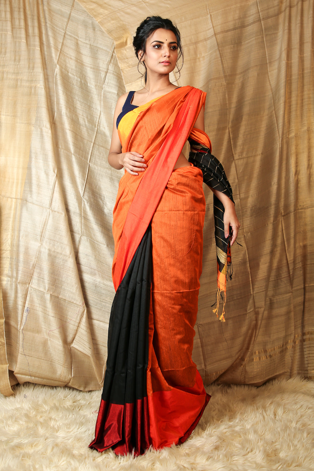Orange & Black Mahapaar Handloom with Gheecha Stripes Pallu