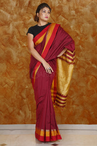 WINE BLENDED COTTON SAREE WITH MULTI-COLOR BORDER AND MELLOW YELLOW PALLU