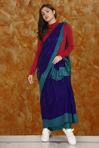 NAVY BLUE PURE GHEECHA WITH TEAL BLUE BORDER