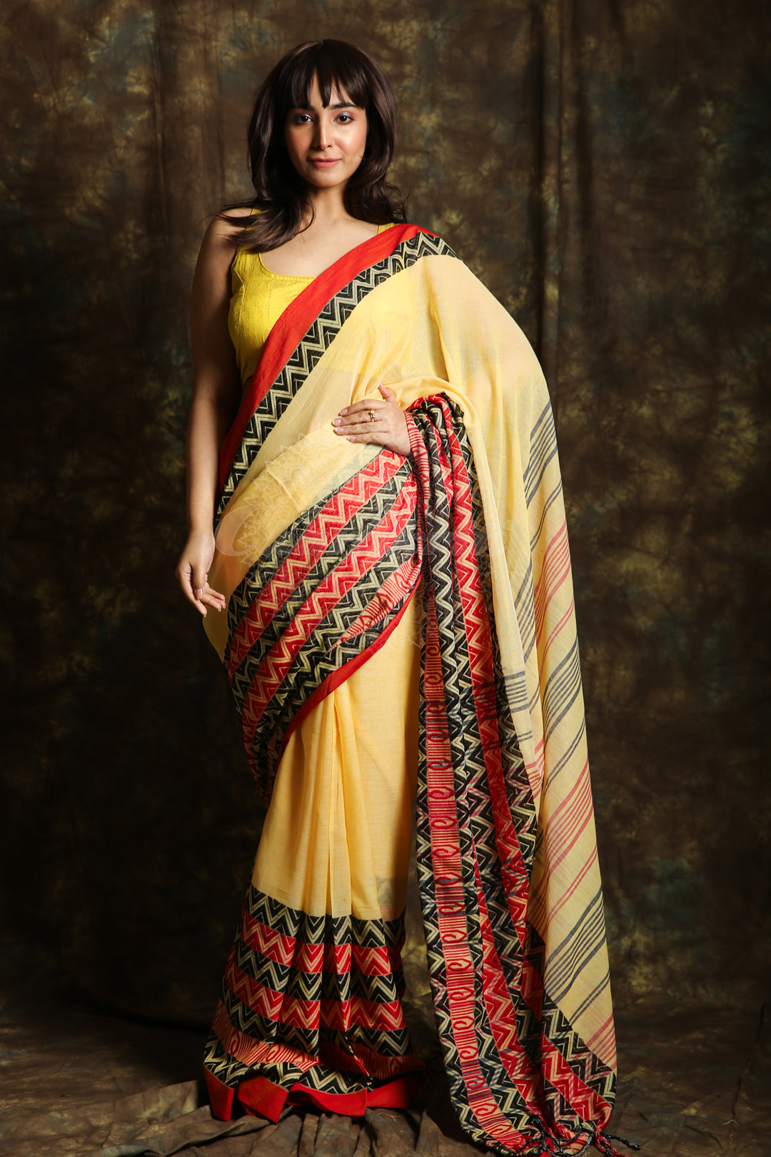 Light Yellow Skirt Border Organic Cotton Saree