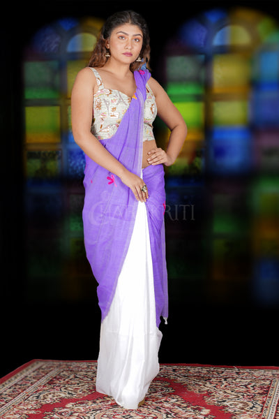 LIGHT PURPLE AND WHITE HALF HALF KHADI COTTON SAREE WITH EMBROIDERY WORK