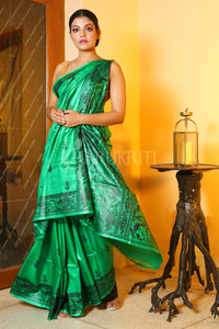 FERN GREEN HAND PAINTED GHEECHA MADUHBANI SAREE WITH SMALL BUTA