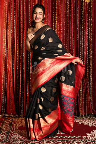 BLACK MANIPURI KOTKI GARDWAL SAREE WITH RED ZARI BORDER AND PALLU