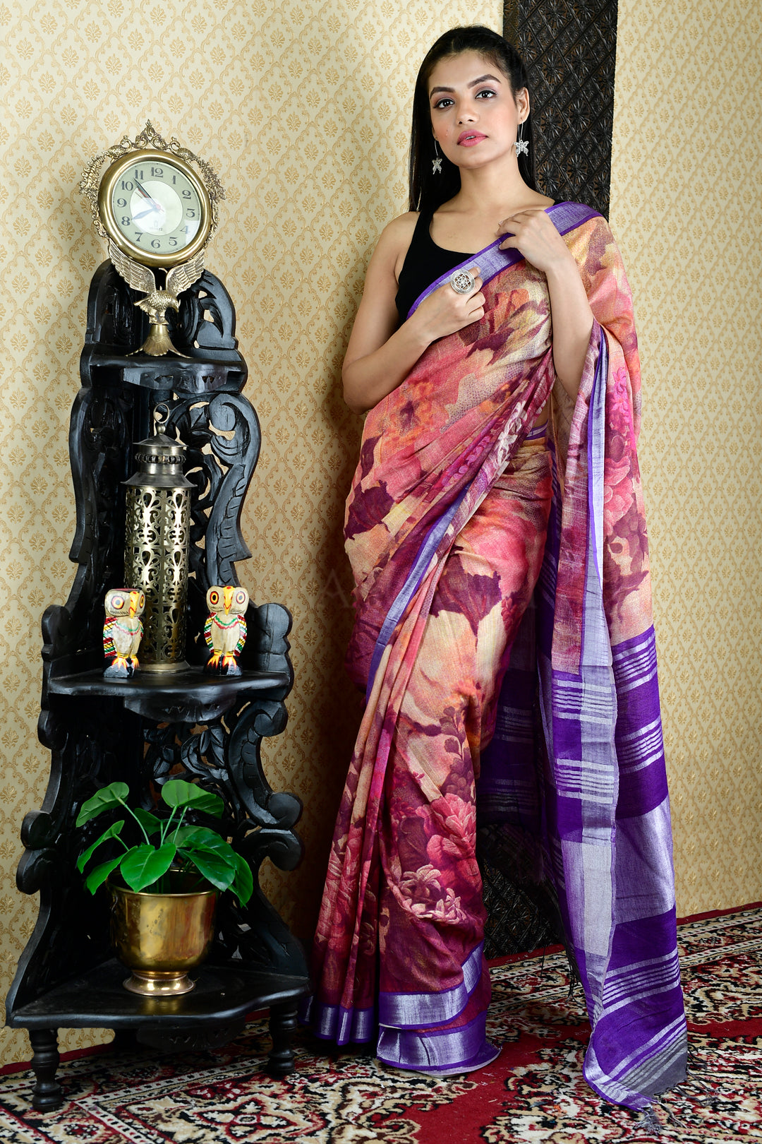 PINK AND PURPLE PRINTED COTTON BLENDED LINEN  WITH VIOLET  BORDER