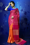MAGENTA AND ORANGE BLENDED COTTON WITH GHICHA STRIPES AND PALLU