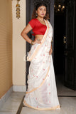 WHITE BLENDED COTTON SAREE WITH SMALL BUTA AND RED WEAVED PALLU