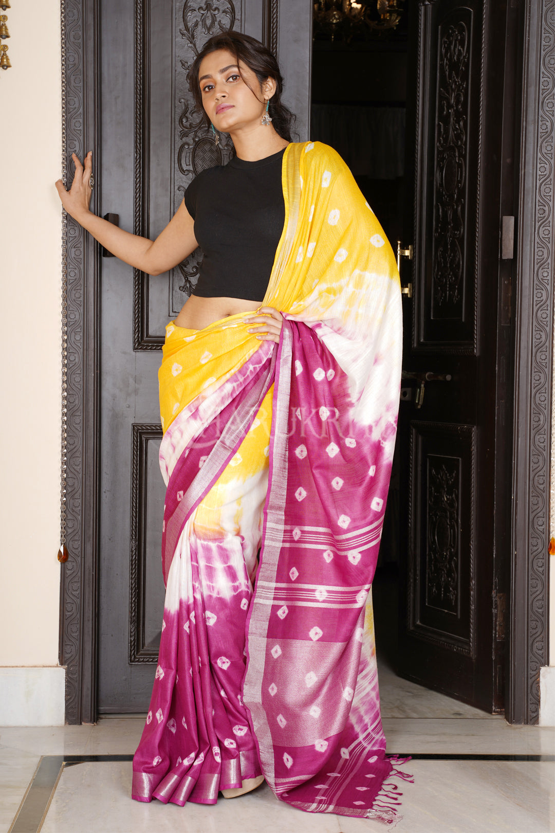 YELLOW AND MAGENTA TIE & DYE BANDHANI PRINTED LINEN SAREE