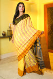 LIGHT YELLOW STRIPED DUAL BORDER PURE COTTON SAREE WITH WEAVED PALLU