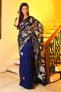 NAVY BLUE MASLIN WITH FOLRAL WEAVING BODY AND PALLU