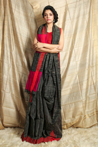 Black Handloom  Saree With All Over Gheecha Weaving