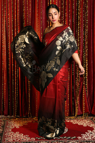 RED AND BLACK DUPION SILK SAREE WITH GOLDEN FLORAL BORDER