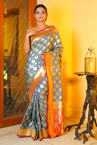 CAROLINA BLUE BANARASI SAREE WITH ALL OVER ZARI WORK AND RED PALLU