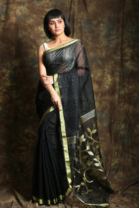 Black Resham Sequine Saree With Rich Pallu