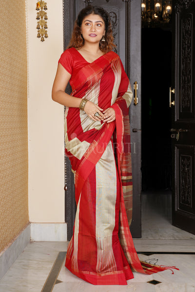 RED AND BEIGE IKKAT WEAVING BLENDED COTTON SAREE WITH ZARI PALLU