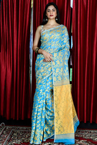 SKY BLUE AND YELLOW JAMDANI WITH ALL OVER THREAD WEAVE