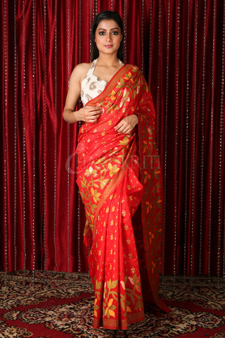 Red Floral Motif Saree