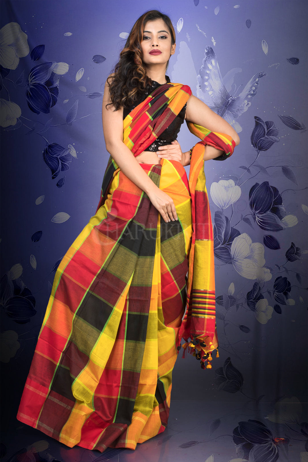 YELLOW RED MULTI COLORED BOX CHECK HANDLOOM SAREE