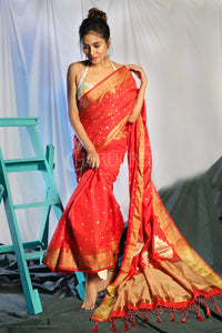 RED DUPION SILK SAREE WITH ALLOVER SMALL BUTTA EMBROIDERY AND ZARI PALLU