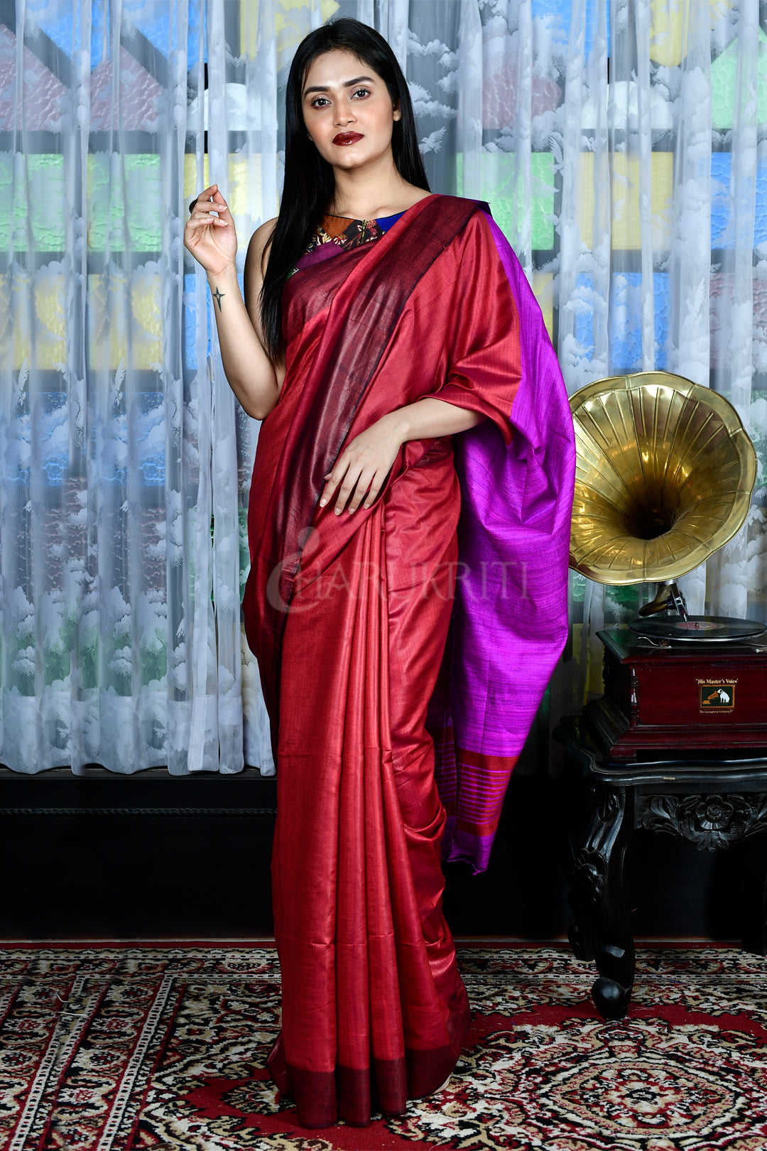 RED GHEECHA SAREE WITH PURPLE PALLU