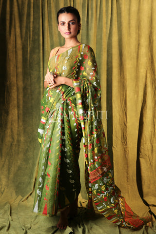 OLIVE GREEN JAMDANI SAREE WITH MULTICOLOR THREAD WEAVING