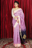CANDY PINK PURE COTTON SAREE WITH ALLOVER WEAVE & NAVY BLUE PALLU
