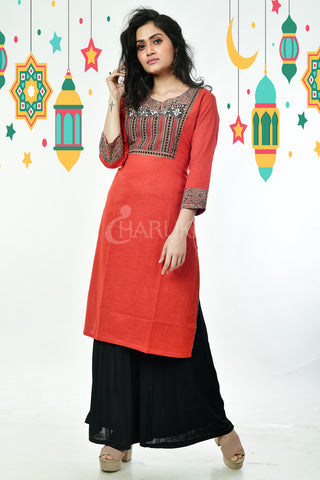 Sand Stone Orange Ari Stitched Patch Cotton Kurti with Side Border