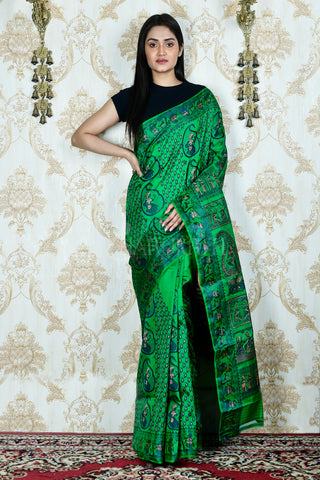 EMERALD GREEN  MINAKARI BALUCHARI SAREE IN KATAN SILK WITH WEAVING PALLU