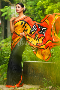 BLACK & ORANGE FLORAL PRINTED PURE SILK SAREE