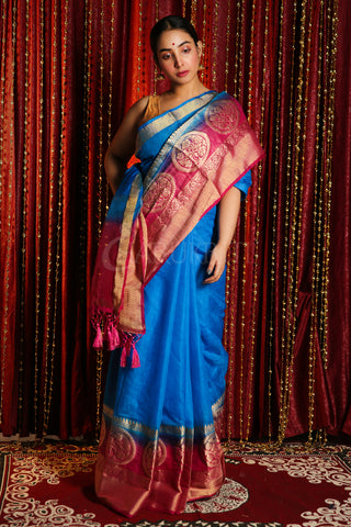 SKY BLUE BLENDED SILK SAREE WITH ZARI BORDER AND MAGENTA PALLU