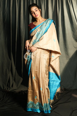 BEIGE BLENDED MATKA WITH SKY BLUE JAAL CUT EMBROIDERY BORDER