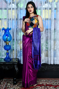 PURPLE GHEECHA SAREE WITH BLUE PALLU