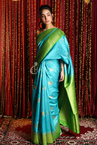 SEA GREEN AND LIME GREEN  ZARI WEAVED TUSSAR BANARASI SAREE