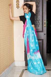 PINK AND SKY BLUE TIE & DYE BANDHANI PRINTED LINEN SAREE