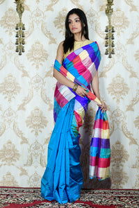 OLYMPIC BLUE KATAN SILK WITH MULTICOLORED PALLU
