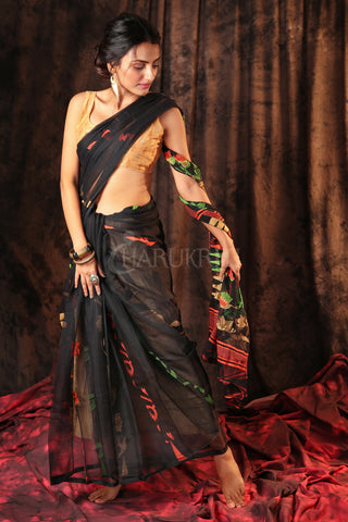 BLACK JAMDANI WITH MULTICOLORED THREAD WEAVE