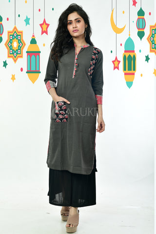 Dark Grey Pure Cotton Kurti with Side Patch Thread Work in Front Pocket