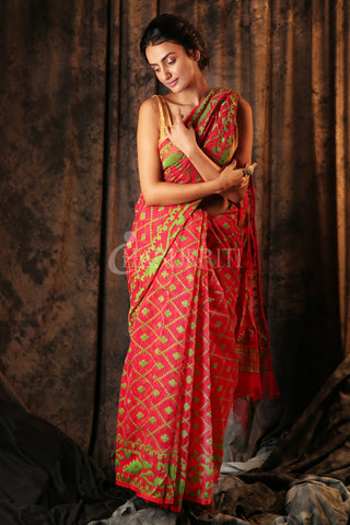 RED JAMDANI SAREE WITH GREEN ALL OVER WEAVING