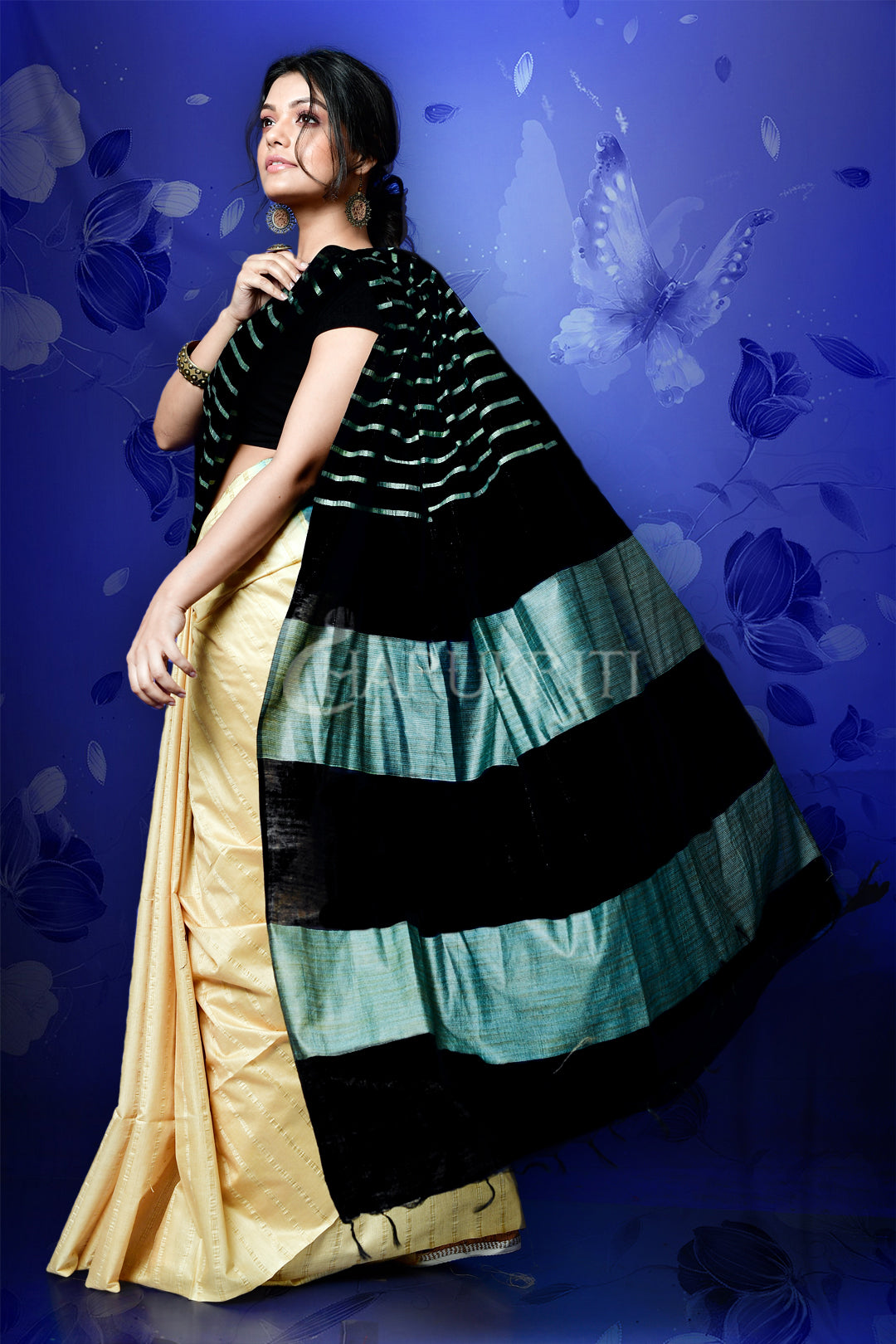 BLACK AND BEIGE BLENDED COTTON WITH GHICHA STRIPES AND PALLU