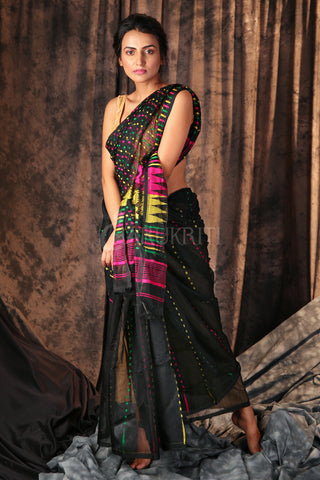 BLACK JAMDANI SAREE WITH MULTICOLOURED BUTTA