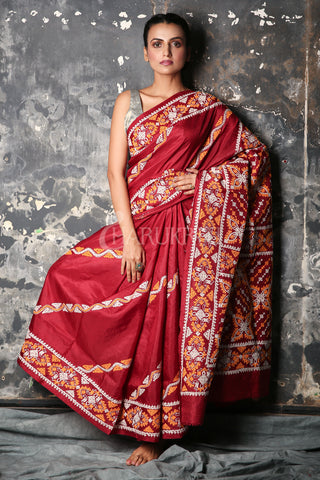 MAROON BANGALORE SILK SAREE WITH GUJRATI WORK